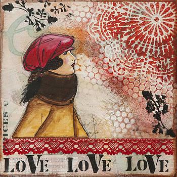 Love Inspirational Mixed Media Folk Art by Stanka Vukelic