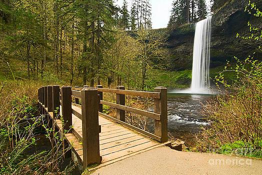 Jamie Pham - Lower South Waterfall with footbridge in Oregon Columbia River Gorge.