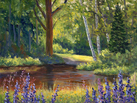 Lupine at the Pond by Elaine Farmer