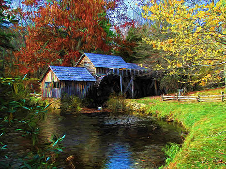 Mabry Mill Painted 2 by Beckie Fitgerald