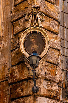 Madonna And Streetlamp Rome Italy by Xavier Cardell