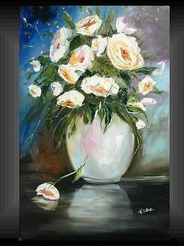 Magic  roses in white vase by Elizabeth Kawala