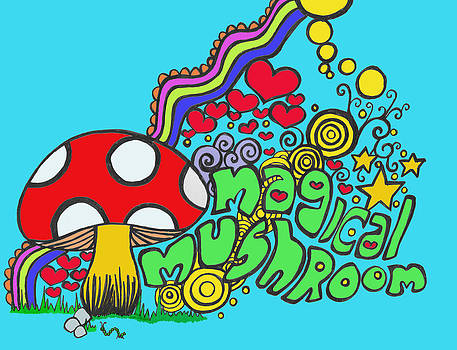 Magical Mushroom Pop Art by Moya Moon