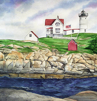 Maine Lighthouse Watercolor by Michelle Wiarda