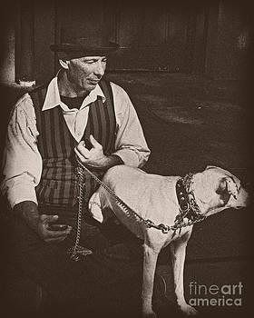 Kathleen K Parker - Man and White Dog in New Orleans