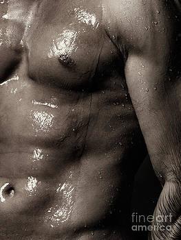 Man bare torse wet under shower by Oleksiy Maksymenko