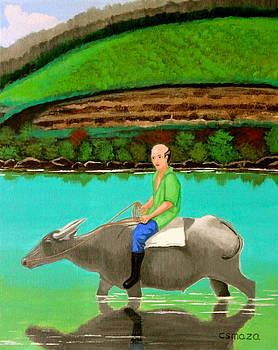 Man Riding a Carabao by Cyril Maza