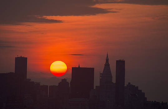 Manhattan Silhouetted by Sunrise by Alina  Oswald