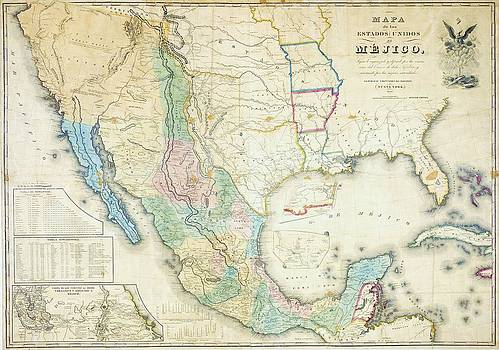 Reproduction - Map of Mexico - 1847