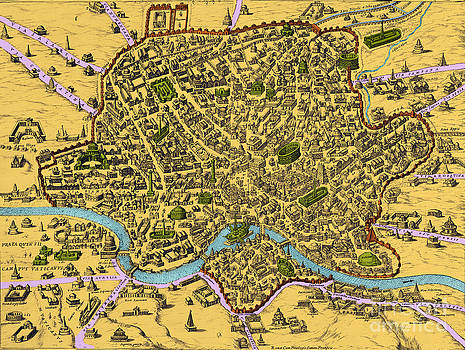 Getty Research Institute - Map Of Rome 1500s