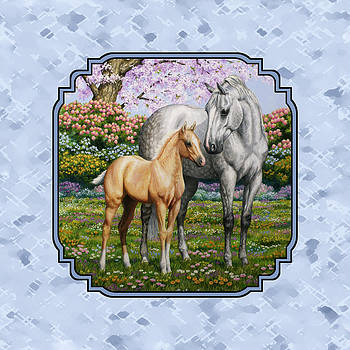 Crista Forest - Mare and Foal Pillow Blue