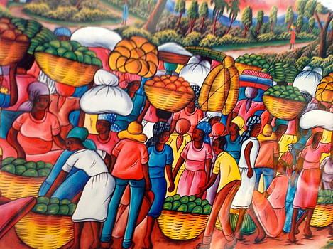 Market in a Haitian village by Haitian artist