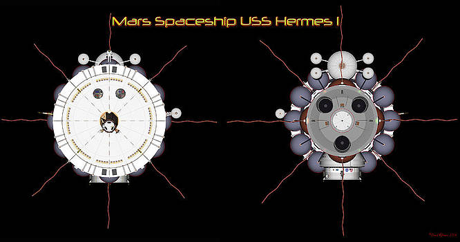 Mars Spaceship Hermes1 front and rear by David Robinson