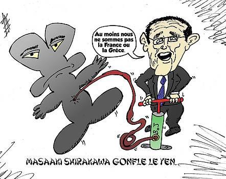 Masaaki Shirakawa en caricature by OptionsClick BlogArt