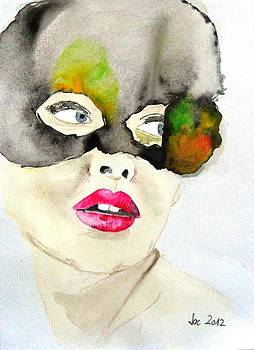 Mask in watercolor by Jacqueline Schreiber