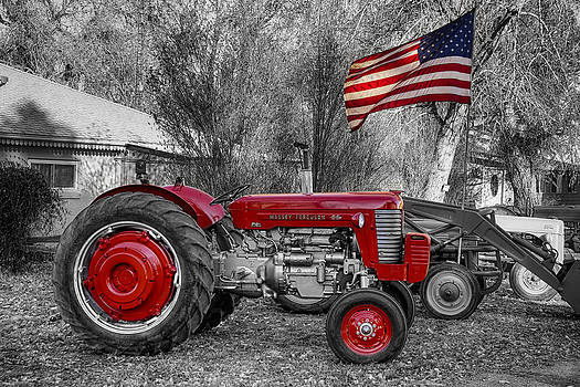 James BO  Insogna - Massey -  Feaguson 65 Tractor with USA Flag BWSC
