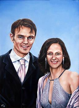 Matt and Sophie Wedding Painting by Richard Mountford