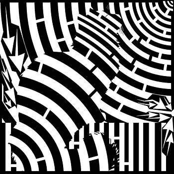 Maze of Cat on Fence Op Art by Maze Op Art Artist