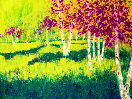 Meadow With Birch Trees by Kent Whitaker