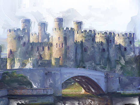 Medieval Conwy castle.  by Christopher Rowlands