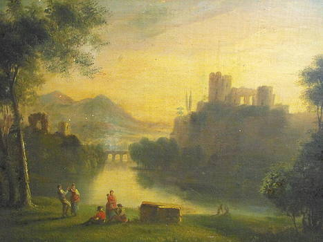 Medieval landscape with people by Unknown