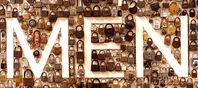 Men Vintage PadLocks Sign by Artist and Photographer Laura Wrede