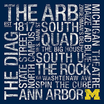Michigan College Colors Subway Art by Replay Photos