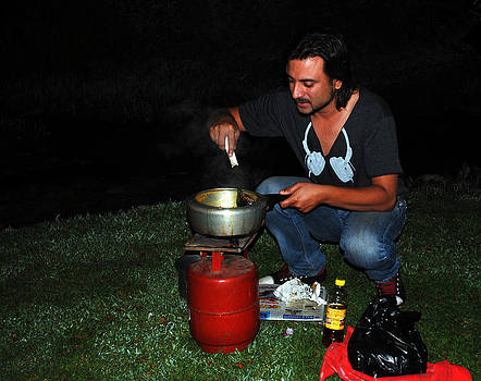 Mid Night Cooking at River Bank by Vijinder Singh