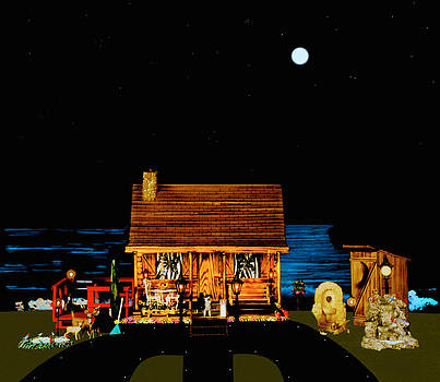 Log Cabin Scene Near The Ocean At Midnight by Leslie Crotty