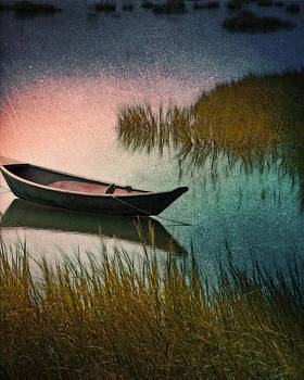 Midnight Paddle in Indigo Teal and Pink  by Brooke Ryan