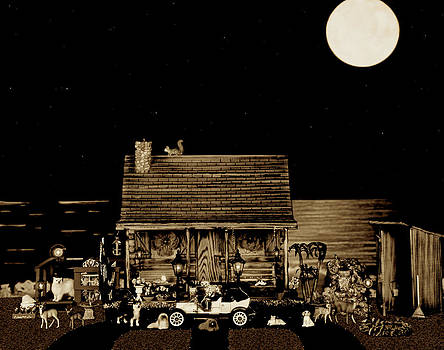 Miniature Log Cabin Scene With Old Time Classic 1908 Model T Ford In Sepia Color by Leslie Crotty
