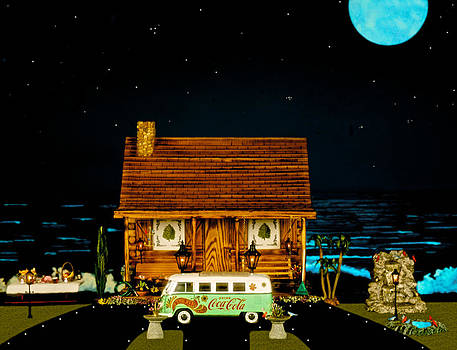 Miniature Log Cabin Scene With Old Time Vintage Classic 1962 Coca Cola Flower Power V.w. Micro Bus by Leslie Crotty