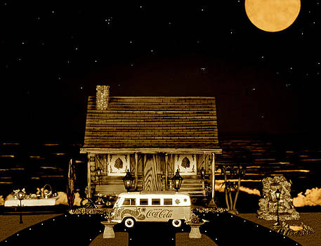 Miniature Log Cabin Scene With Old Vintage Classic 1962 Coca Cola Flower Power V.w. Bus In Sepia  by Leslie Crotty