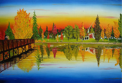 Mirror Pond Park Bend Oregon by Portland Art Creations