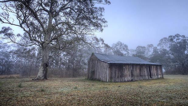 Misty Barn by Steve Caldwell