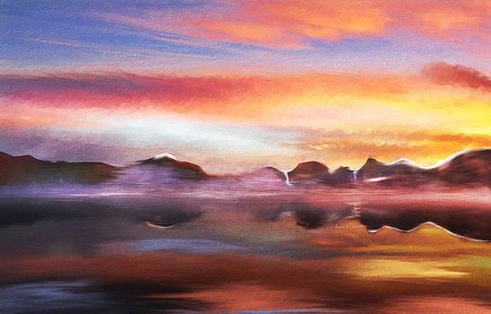 Angela A Stanton - Misty Bay at Sunset