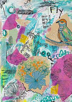 Mixed Media Flower Bird Painting by Rosalina Bojadschijew