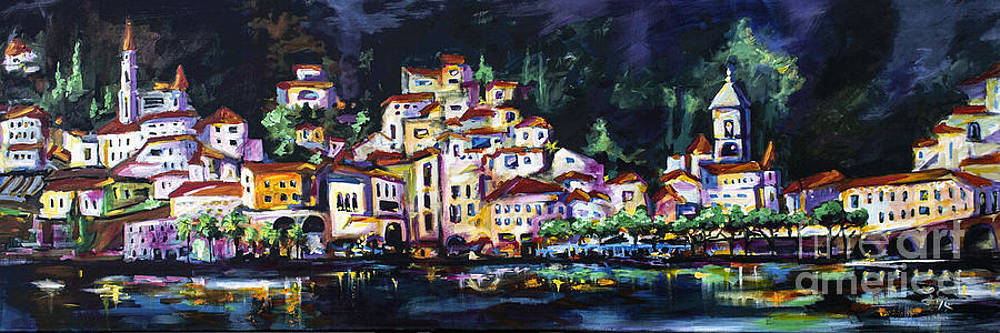 Ginette Fine Art LLC Ginette Callaway - Modern Amalfi at Night Cityscape Panorama