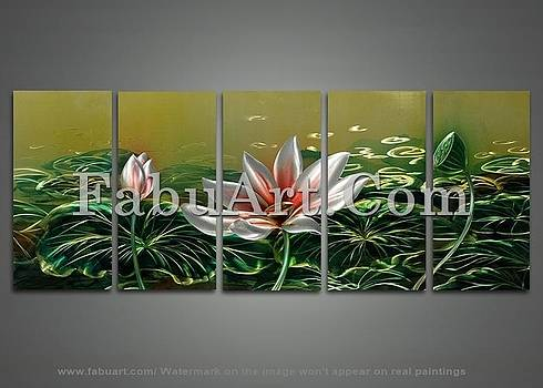 Modern Lotus Metal Wall Art Painting by FabuArt