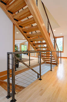 Modern Wooden Staircase by Will Austin
