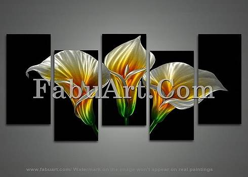 Modern Yellow Floral Metal Wall Art by FabuArt