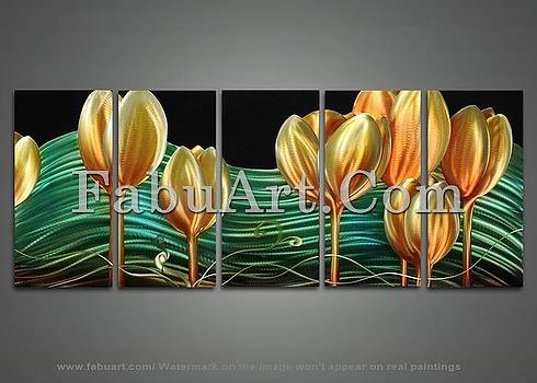Modern Yellow Flower Metal Wall Art by FabuArt