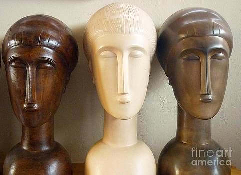 Modigliani style ceramic heads by Ronald Osborne
