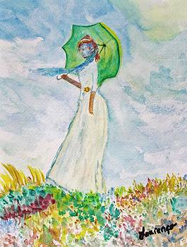 Monet Tribute Woman with Parasol by Julie Lourenco