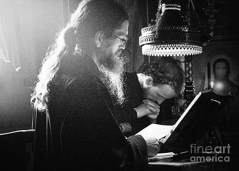 Monk praying  - BW by Mount Athos