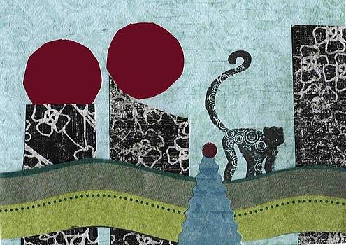 Monkey in the City with a Red Moon by Glenda Kotchish