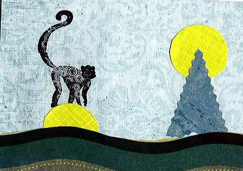 Monkey on Yellow Moon by Glenda Kotchish