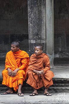 Monks at Angkor Wat by David Lane