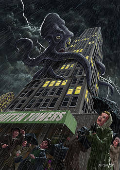 Martin Davey - Monster Octopus attacking building in storm