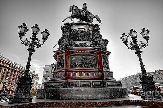 Monument to russian emperor Nicholas I in St . Petersburg . Russia by Vladimir Sidoropolev